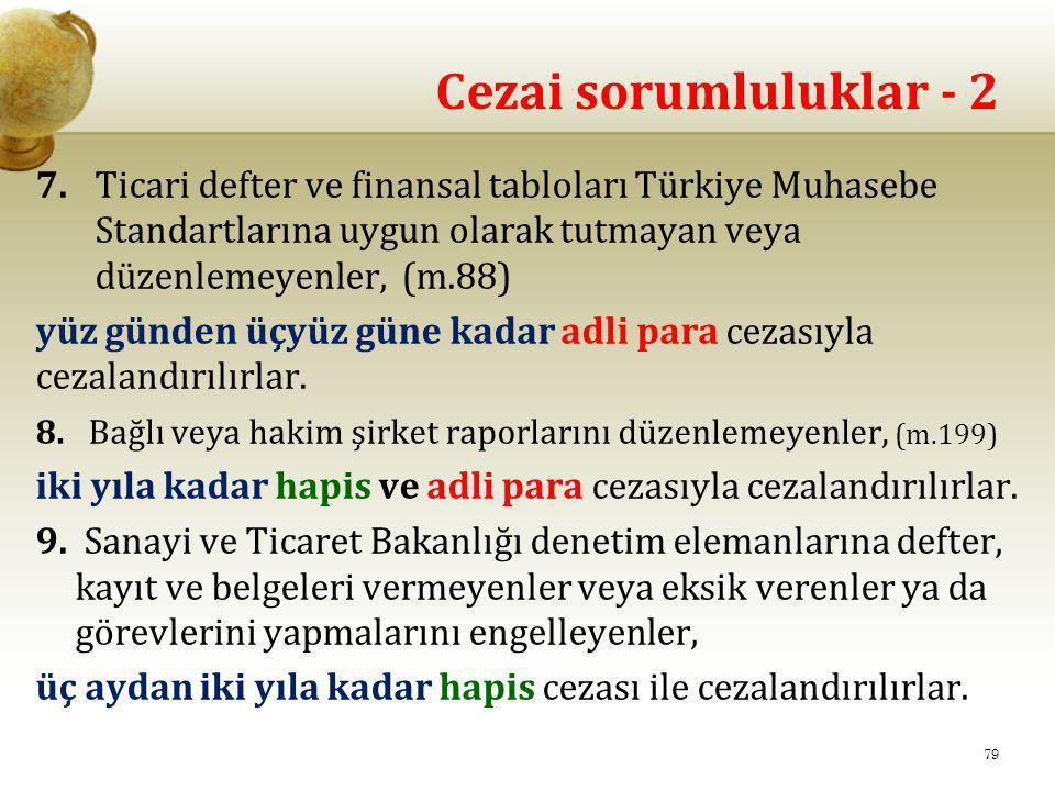 Cezai sorumluluklar - 2 7. Ticari defter ve finansal tabloları Türkiye Muhasebe Standartlarına uygun olarak tutmayan veya düzenlemeyenler, (m.88) yüz