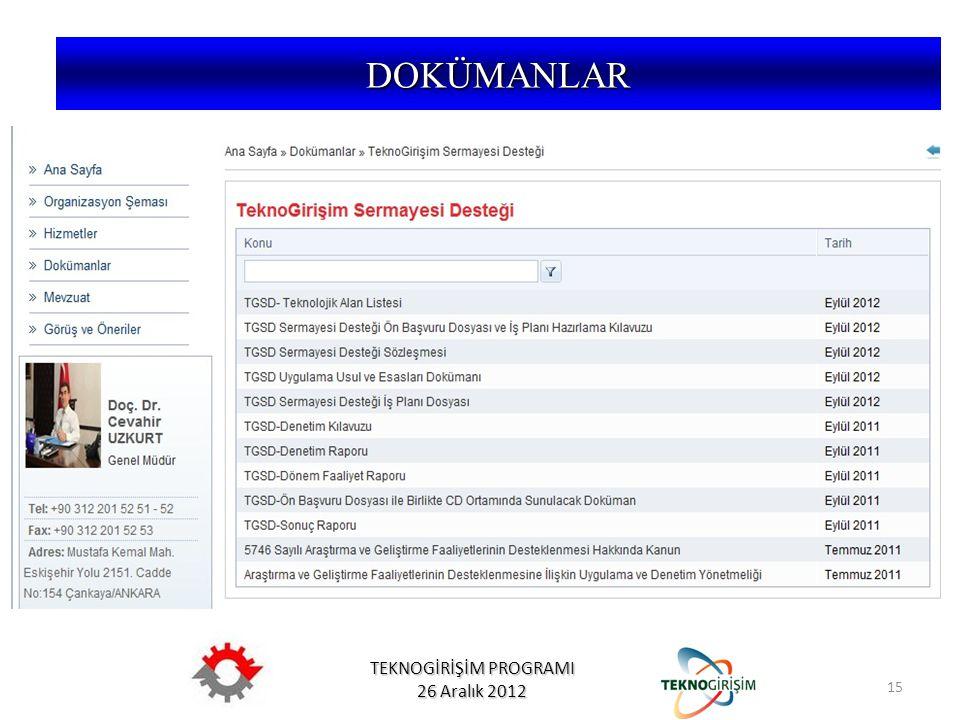 TEKNOGİRİŞİM PROGRAMI 26 Aralık 2012 15 DOKÜMANLAR