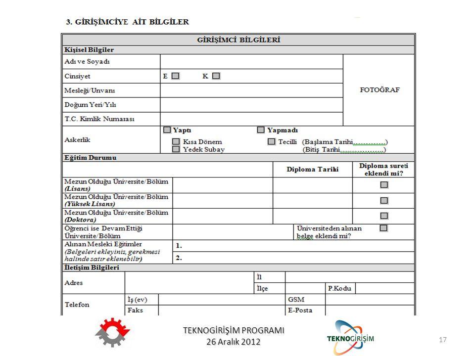 TEKNOGİRİŞİM PROGRAMI 26 Aralık 2012 17