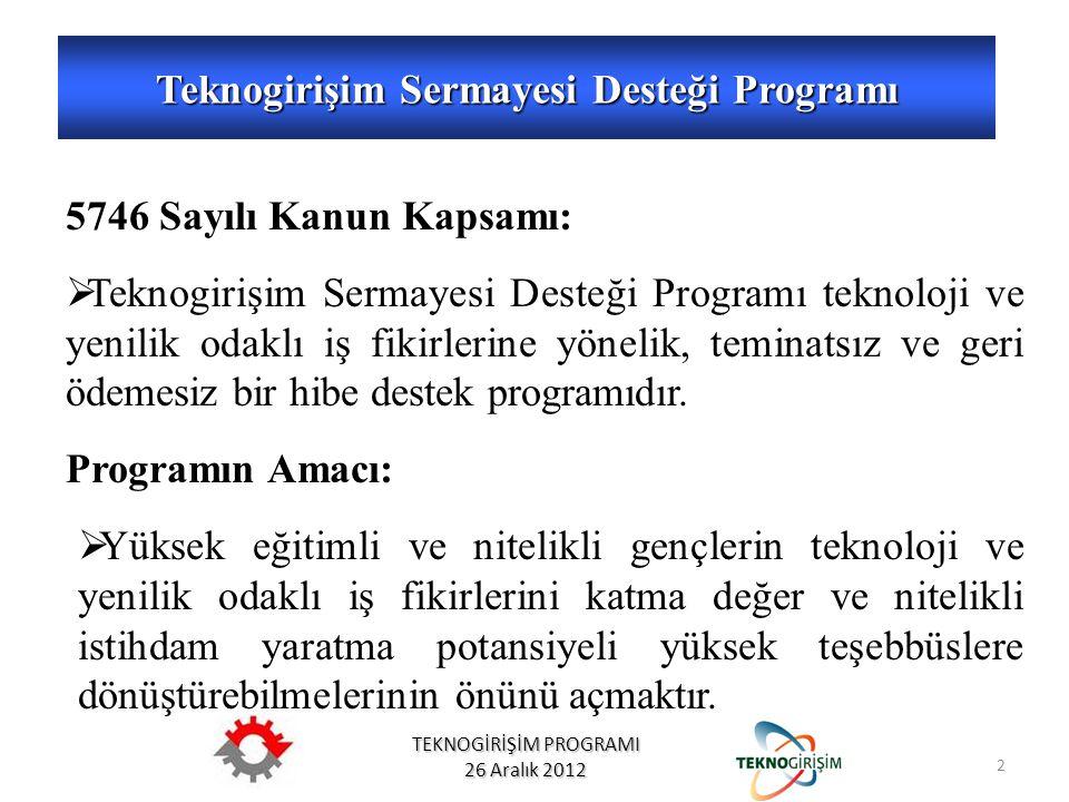 TEKNOGİRİŞİM PROGRAMI 26 Aralık 2012 5746 Sayılı Kanun Kapsamı:  Teknogirişim Sermayesi Desteği Programı teknoloji ve yenilik odaklı iş fikirlerine yönelik, teminatsız ve geri ödemesiz bir hibe destek programıdır.