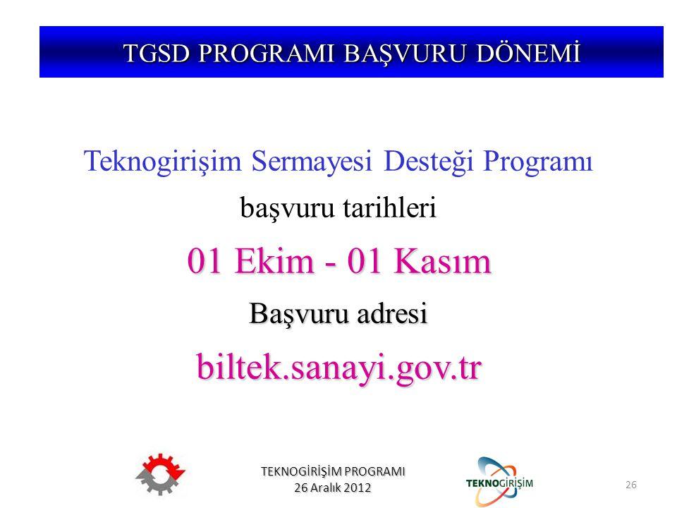 TEKNOGİRİŞİM PROGRAMI 26 Aralık 2012 Teknogirişim Sermayesi Desteği Programı başvuru tarihleri 01 Ekim - 01 Kasım Başvuru adresi biltek.sanayi.gov.tr