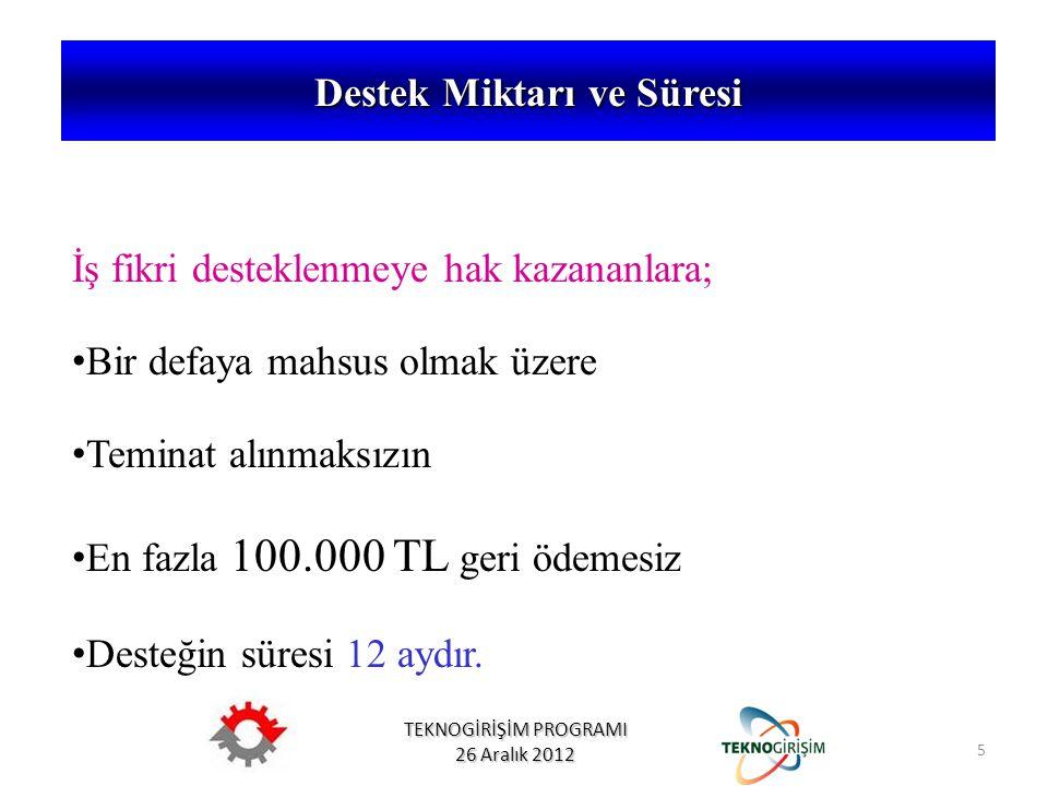 TEKNOGİRİŞİM PROGRAMI 26 Aralık 2012 İş fikri desteklenmeye hak kazananlara; • Bir defaya mahsus olmak üzere • Teminat alınmaksızın • En fazla 100.000