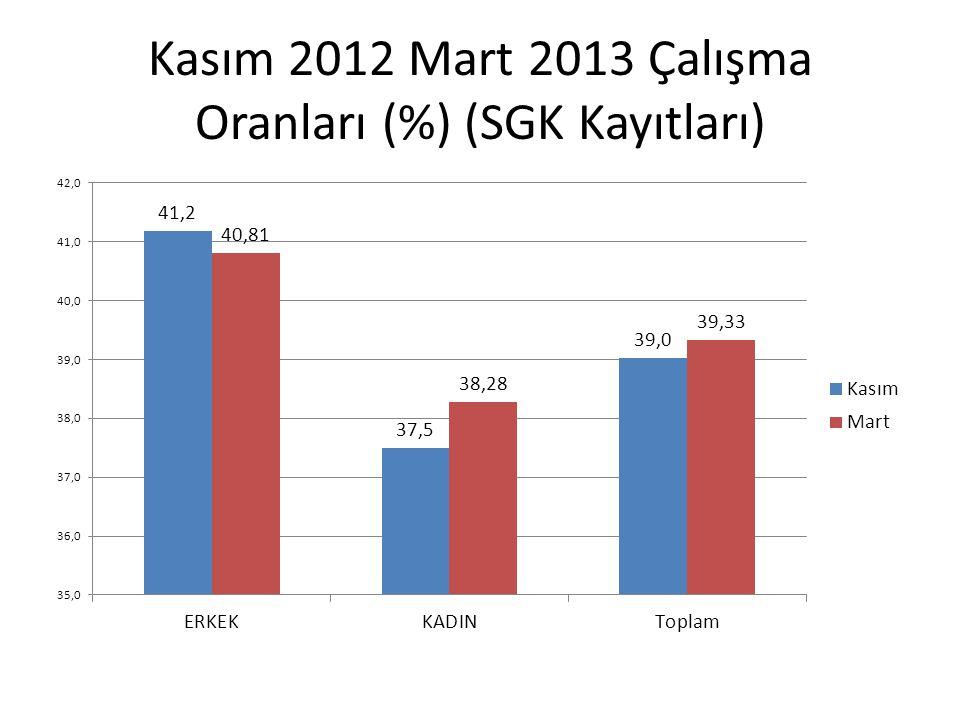 Kasım 2012 Mart 2013 Çalışma Oranları (%) (SGK Kayıtları)