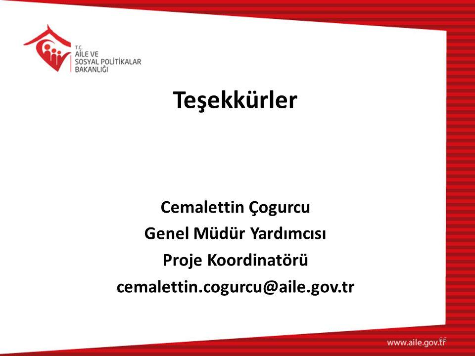 Teşekkürler Cemalettin Çogurcu Genel Müdür Yardımcısı Proje Koordinatörü cemalettin.cogurcu@aile.gov.tr 66