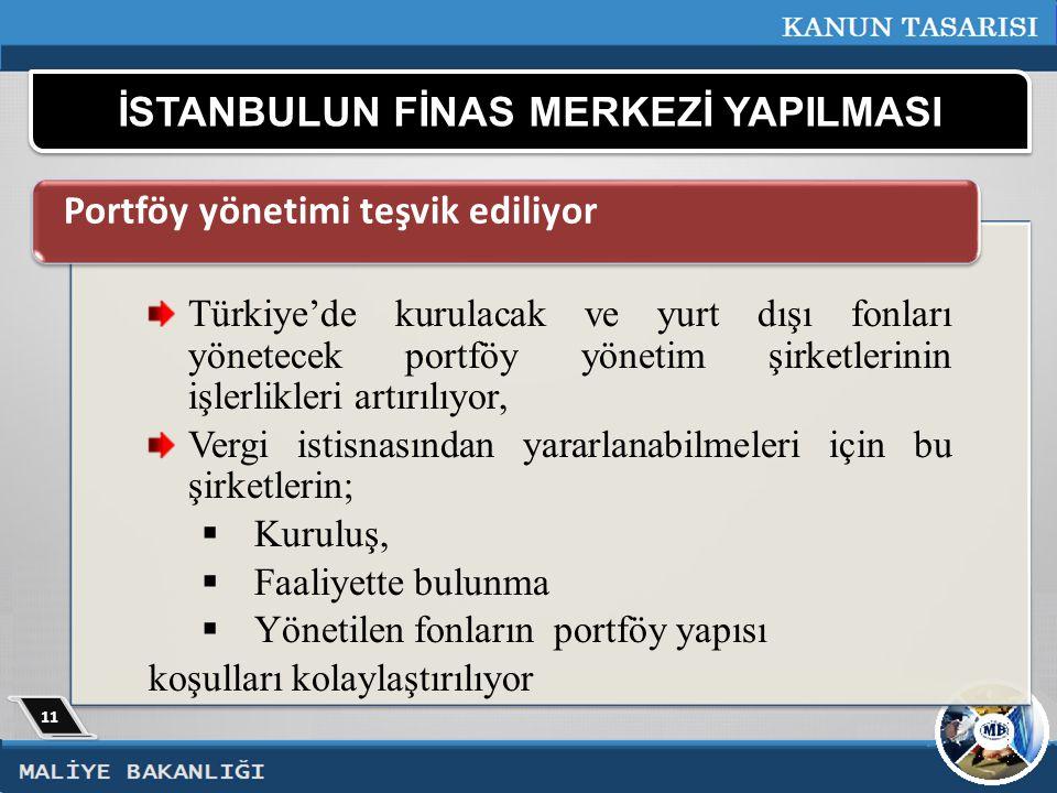 İSTANBULUN FİNAS MERKEZİ YAPILMASI Türkiye'de kurulacak ve yurt dışı fonları yönetecek portföy yönetim şirketlerinin işlerlikleri artırılıyor, Vergi istisnasından yararlanabilmeleri için bu şirketlerin;  Kuruluş,  Faaliyette bulunma  Yönetilen fonların portföy yapısı koşulları kolaylaştırılıyor Portföy yönetimi teşvik ediliyor 11