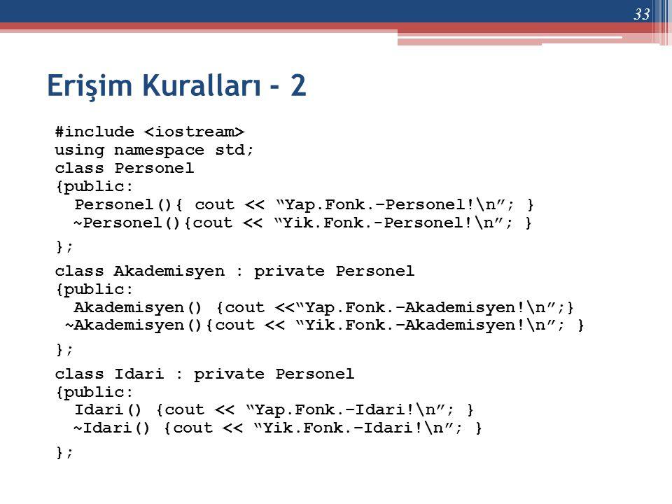 "Erişim Kuralları - 2 #include using namespace std; class Personel {public: Personel(){ cout << ""Yap.Fonk.–Personel!\n""; } ~Personel(){cout << ""Yik.Fon"