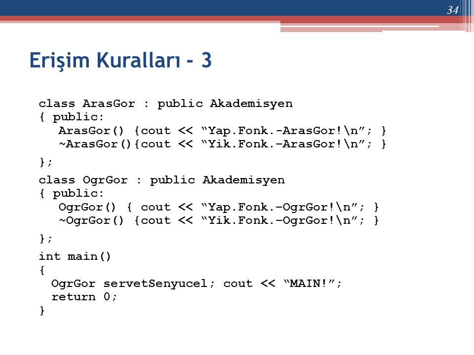 """Erişim Kuralları - 3 class ArasGor : public Akademisyen { public: ArasGor() {cout << """"Yap.Fonk.-ArasGor!\n""""; } ~ArasGor(){cout << """"Yik.Fonk.–ArasGor!\"""