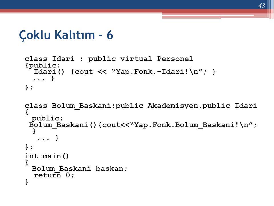 """Çoklu Kalıtım - 6 class Idari : public virtual Personel {public: Idari() {cout << """"Yap.Fonk.–Idari!\n""""; }... } }; class Bolum_Baskani:public Akademisy"""