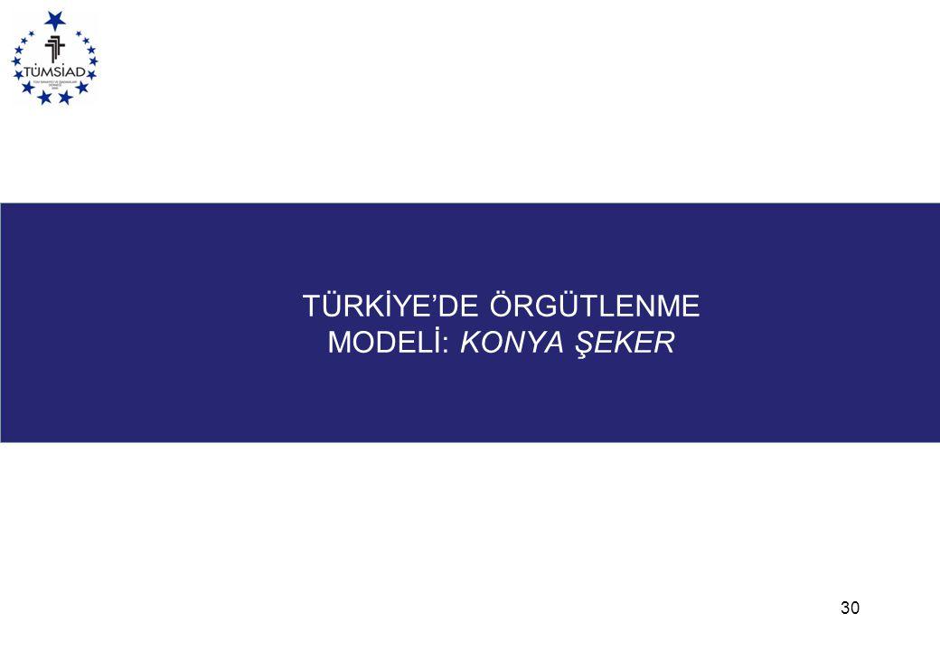 TÜRKİYE'DE ÖRGÜTLENME MODELİ: KONYA ŞEKER 30