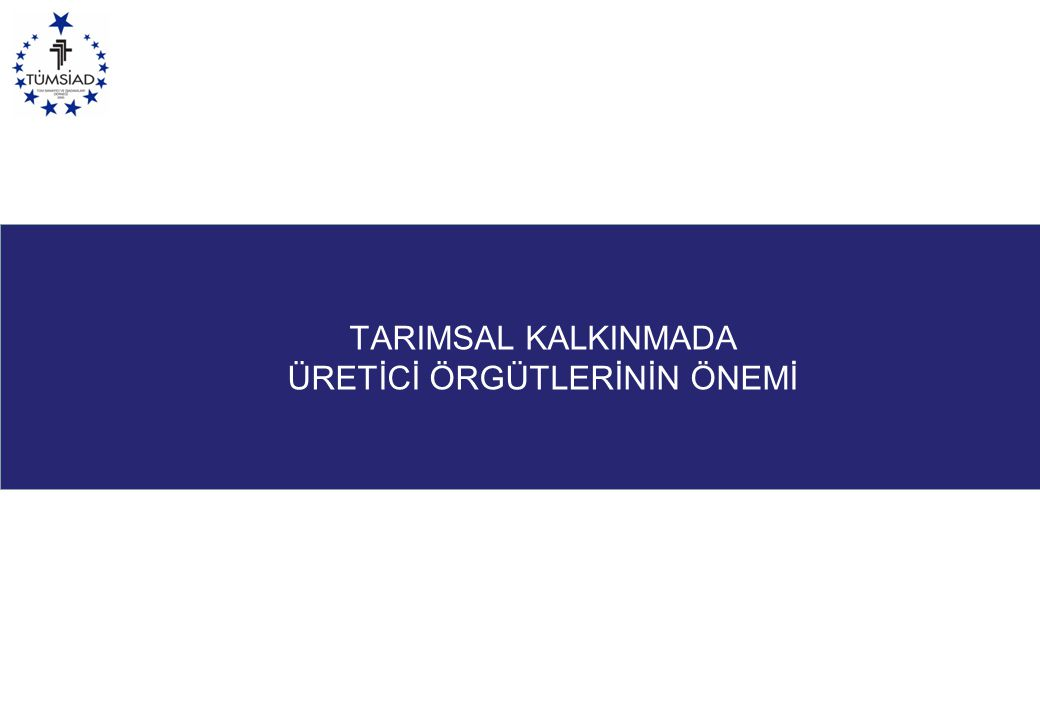 TARIMSAL KALKINMADA ÜRETİCİ ÖRGÜTLERİNİN ÖNEMİ