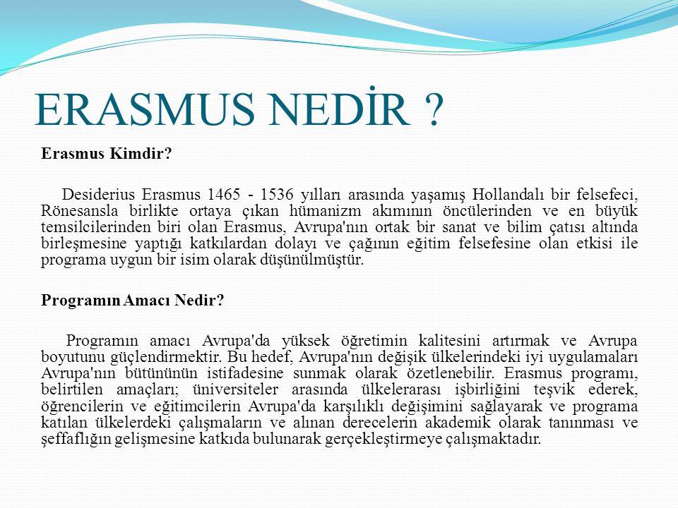 ERASMUS NEDİR ? Erasmus Kimdir? Desiderius Erasmus 1465 - 1536 yılları arasında yaşamış Hollandalı bir felsefeci, Rönesansla birlikte ortaya çıkan hüm