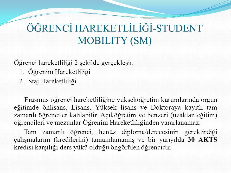 ÖĞRENCİ HAREKETLİLİĞİ-STUDENT MOBILITY (SM) Öğrenci hareketliliği 2 şekilde gerçekleşir, 1. Öğrenim Hareketliliği 2. Staj Hareketliliği Erasmus öğrenc