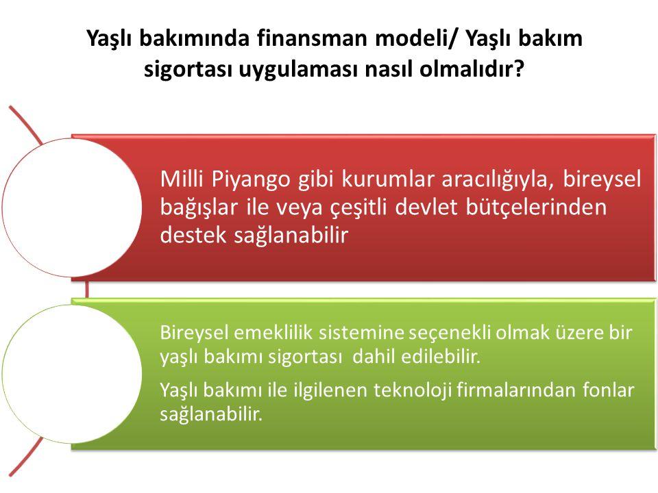 Yaşlı bakımında finansman modeli/ Yaşlı bakım sigortası uygulaması nasıl olmalıdır? Milli Piyango gibi kurumlar aracılığıyla, bireysel bağışlar ile ve