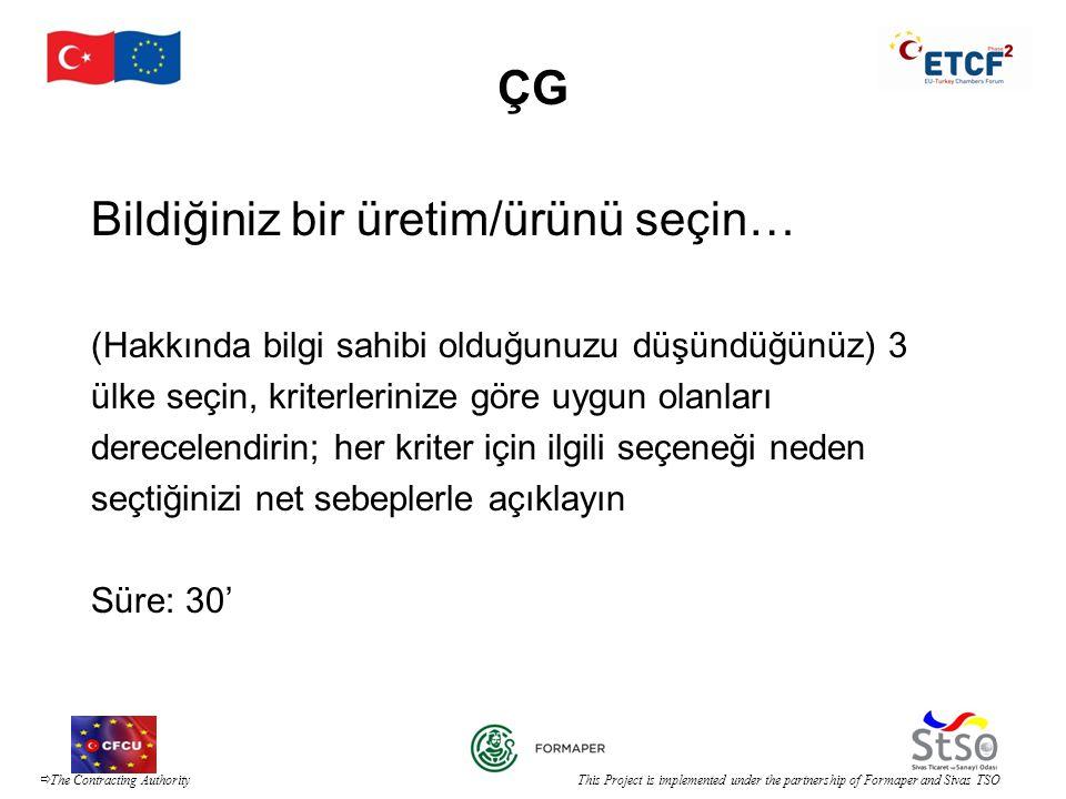  The Contracting Authority This Project is implemented under the partnership of Formaper and Sivas TSO ÇG Bildiğiniz bir üretim/ürünü seçin… (Hakkınd