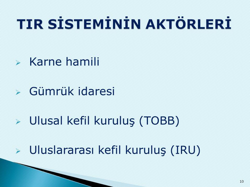  Karne hamili  Gümrük idaresi  Ulusal kefil kuruluş (TOBB)  Uluslararası kefil kuruluş (IRU) 10