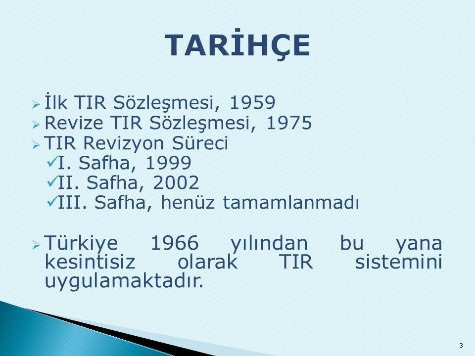  İlk TIR Sözleşmesi, 1959  Revize TIR Sözleşmesi, 1975  TIR Revizyon Süreci  I. Safha, 1999  II. Safha, 2002  III. Safha, henüz tamamlanmadı  T