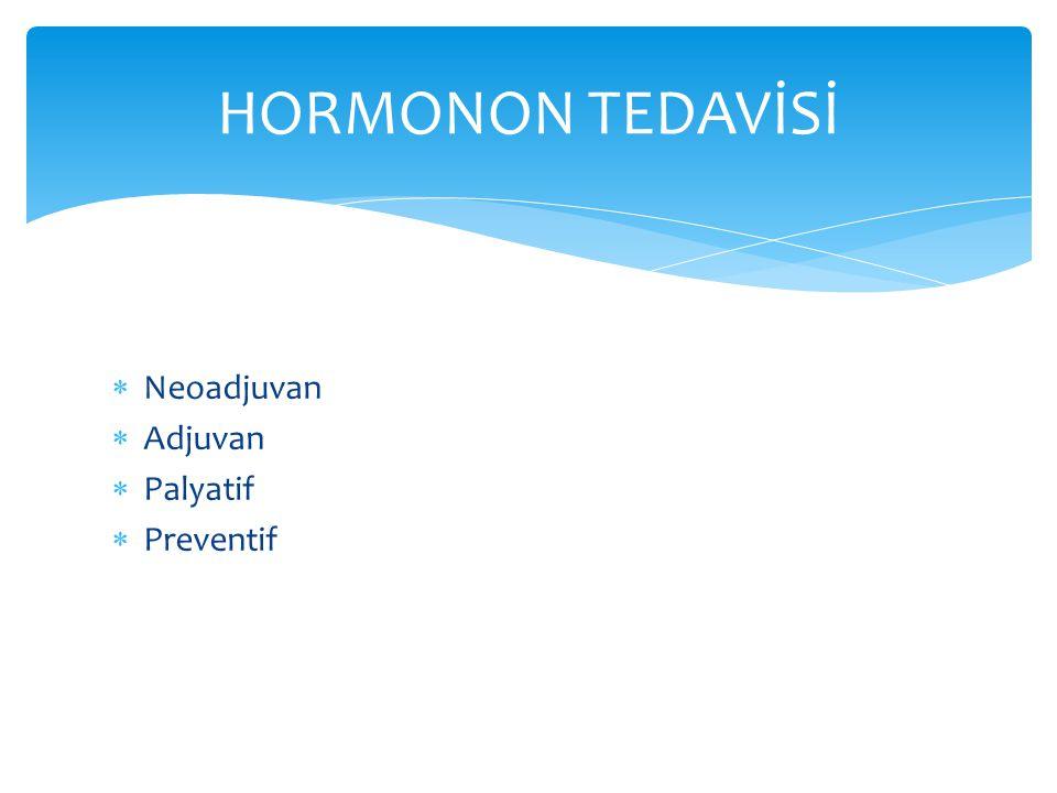  Neoadjuvan  Adjuvan  Palyatif  Preventif HORMONON TEDAVİSİ