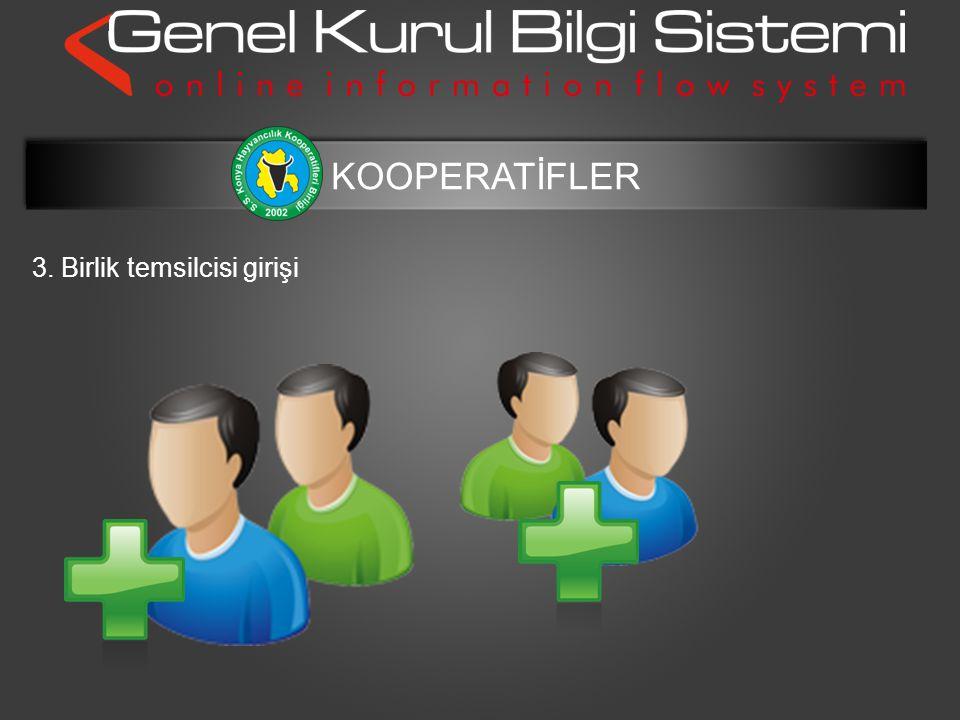 3. Birlik temsilcisi girişi KOOPERATİFLER