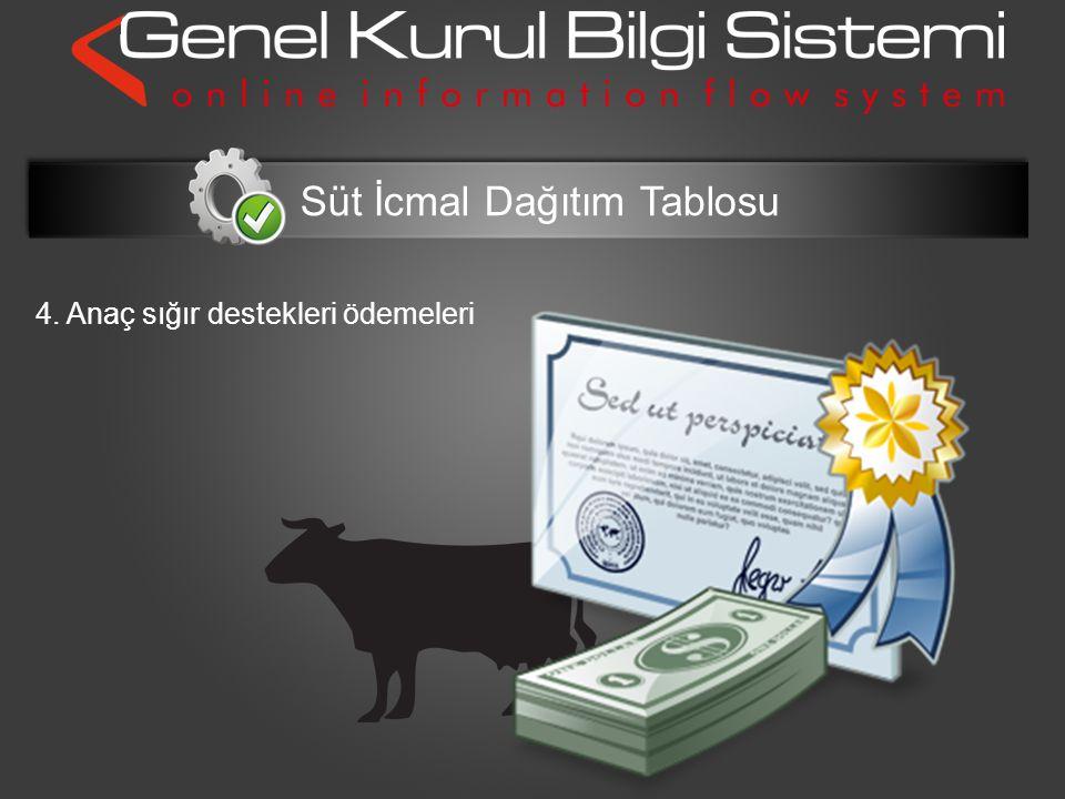 4. Anaç sığır destekleri ödemeleri Süt İcmal Dağıtım Tablosu