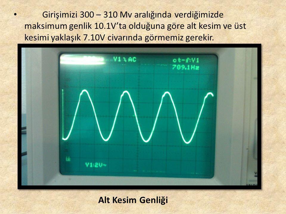 • Girişimizi 300 – 310 Mv aralığında verdiğimizde maksimum genlik 10.1V'ta olduğuna göre alt kesim ve üst kesimi yaklaşık 7.10V civarında görmemiz gerekir.