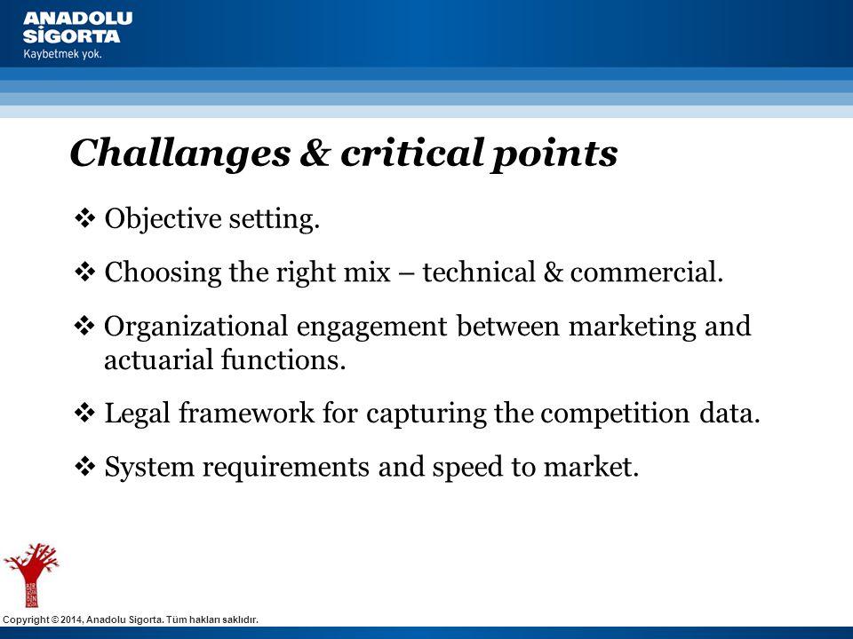 Copyright © 2014, Anadolu Sigorta. Tüm hakları saklıdır. Challanges & critical points  Organizational engagement between marketing and actuarial func