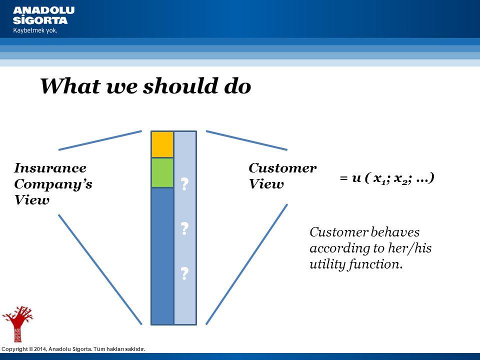 Copyright © 2014, Anadolu Sigorta. Tüm hakları saklıdır. What we should do ?????? Insurance Company's View Customer View = u ( x 1 ; x 2 ; …) Customer