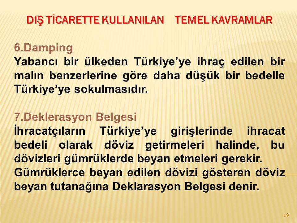 19 DIŞ TİCARETTE KULLANILAN TEMEL KAVRAMLAR 6.Damping Yabancı bir ülkeden Türkiye'ye ihraç edilen bir malın benzerlerine göre daha düşük bir bedelle T