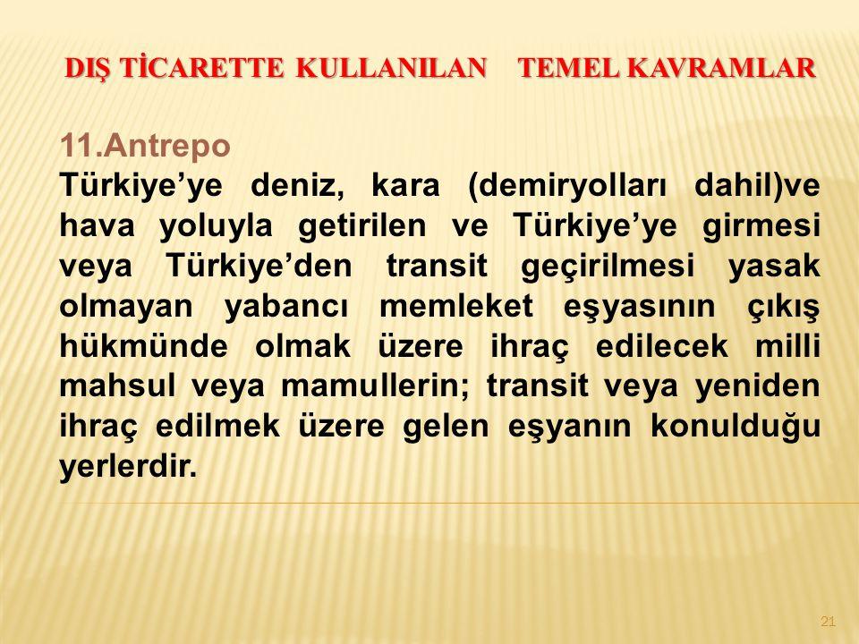 21 DIŞ TİCARETTE KULLANILAN TEMEL KAVRAMLAR 11.Antrepo Türkiye'ye deniz, kara (demiryolları dahil)ve hava yoluyla getirilen ve Türkiye'ye girmesi veya