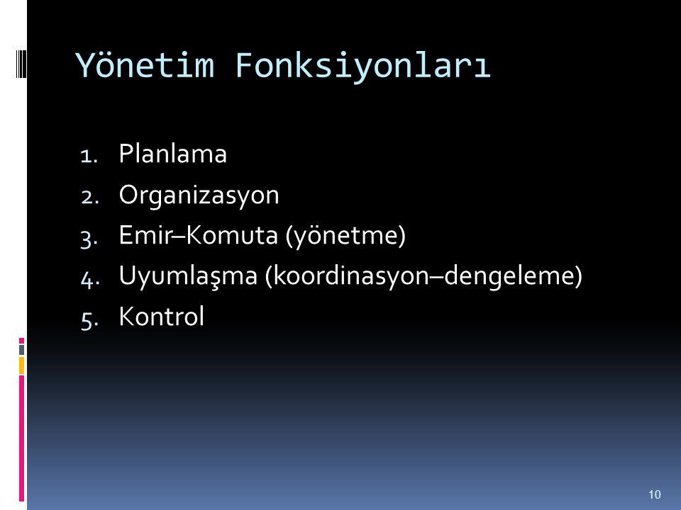 Yönetim Fonksiyonları 1. Planlama 2. Organizasyon 3. Emir–Komuta (yönetme) 4. Uyumlaşma (koordinasyon–dengeleme) 5. Kontrol 10