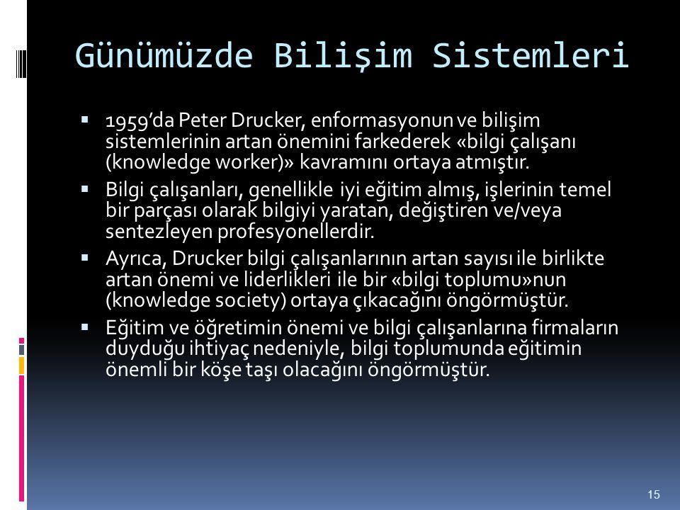 Günümüzde Bilişim Sistemleri  1959'da Peter Drucker, enformasyonun ve bilişim sistemlerinin artan önemini farkederek «bilgi çalışanı (knowledge worke
