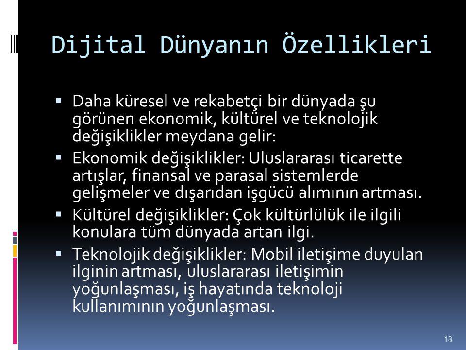Dijital Dünyanın Özellikleri  Daha küresel ve rekabetçi bir dünyada şu görünen ekonomik, kültürel ve teknolojik değişiklikler meydana gelir:  Ekonom