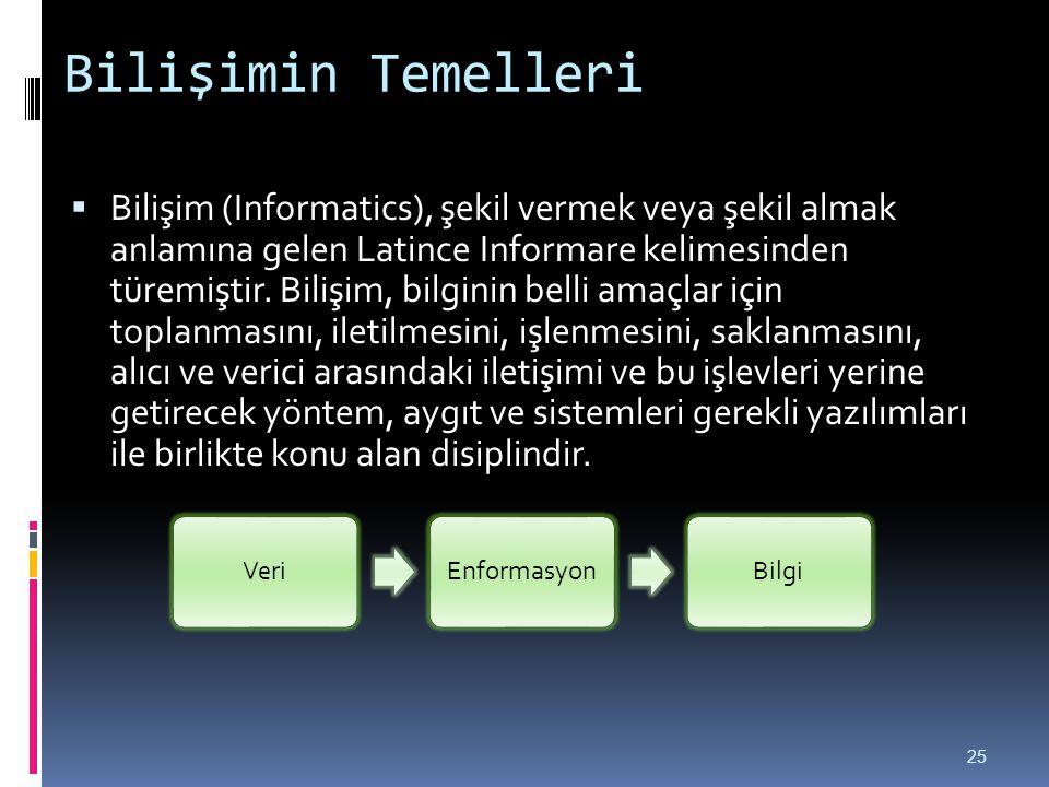 Bilişimin Temelleri  Bilişim (Informatics), şekil vermek veya şekil almak anlamına gelen Latince Informare kelimesinden türemiştir. Bilişim, bilginin