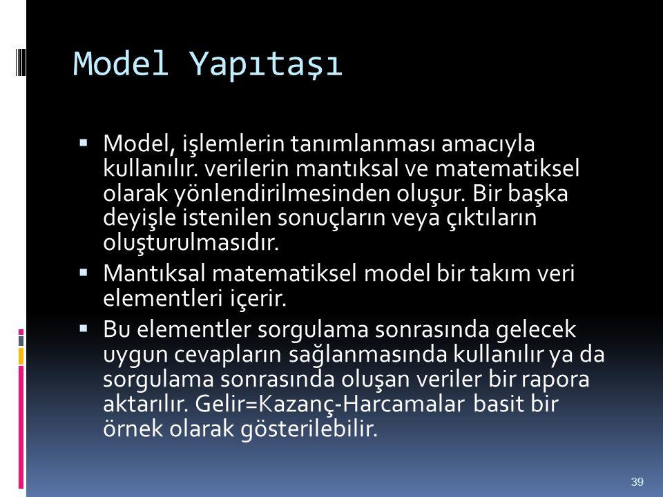Model Yapıtaşı  Model, işlemlerin tanımlanması amacıyla kullanılır. verilerin mantıksal ve matematiksel olarak yönlendirilmesinden oluşur. Bir başka