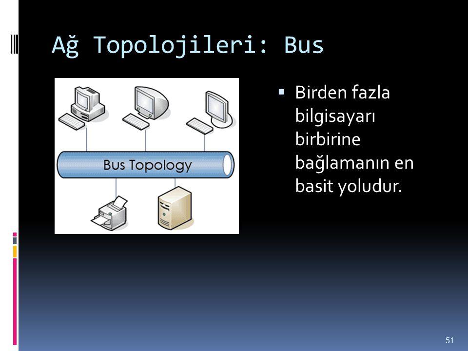 Ağ Topolojileri: Bus  Birden fazla bilgisayarı birbirine bağlamanın en basit yoludur. 51