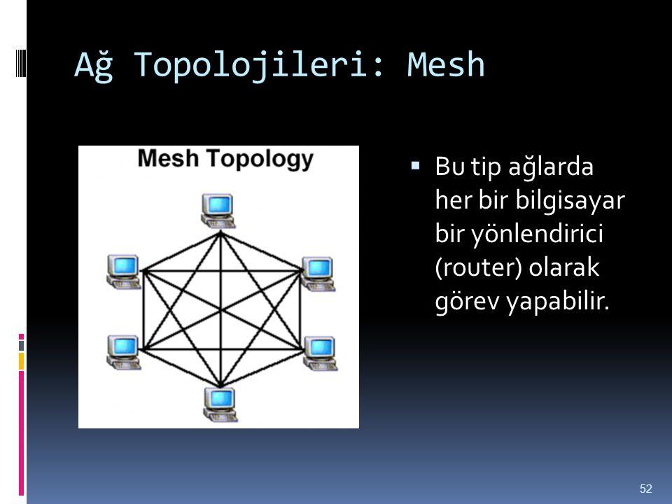 Ağ Topolojileri: Mesh  Bu tip ağlarda her bir bilgisayar bir yönlendirici (router) olarak görev yapabilir. 52
