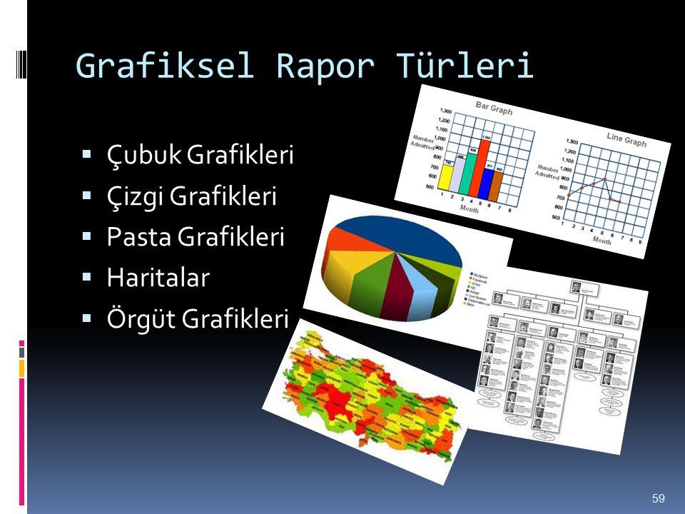 Grafiksel Rapor Türleri  Çubuk Grafikleri  Çizgi Grafikleri  Pasta Grafikleri  Haritalar  Örgüt Grafikleri 59