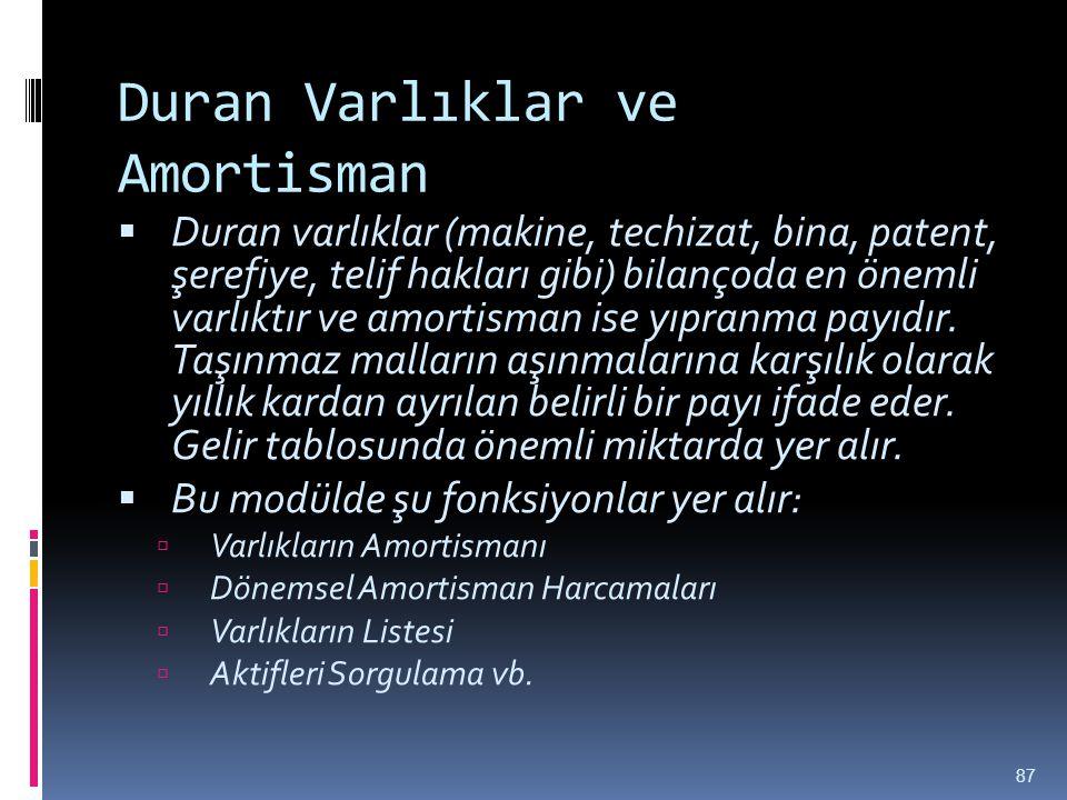 Duran Varlıklar ve Amortisman  Duran varlıklar (makine, techizat, bina, patent, şerefiye, telif hakları gibi) bilançoda en önemli varlıktır ve amorti