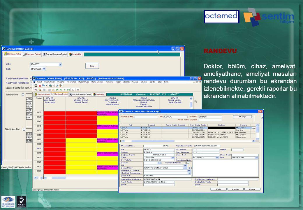 RANDEVU Doktor, bölüm, cihaz, ameliyat, ameliyathane, ameliyat masaları randevu durumları bu ekrandan izlenebilmekte, gerekli raporlar bu ekrandan alınabilmektedir.