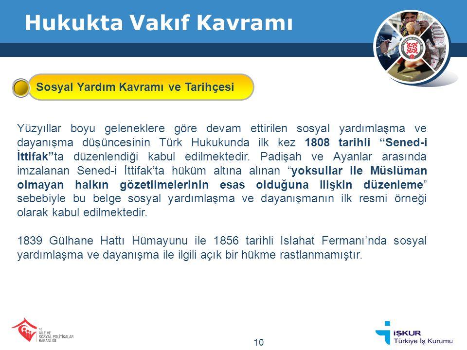 Hukukta Vakıf Kavramı Yüzyıllar boyu geleneklere göre devam ettirilen sosyal yardımlaşma ve dayanışma düşüncesinin Türk Hukukunda ilk kez 1808 tarihli Sened-i İttifak ta düzenlendiği kabul edilmektedir.