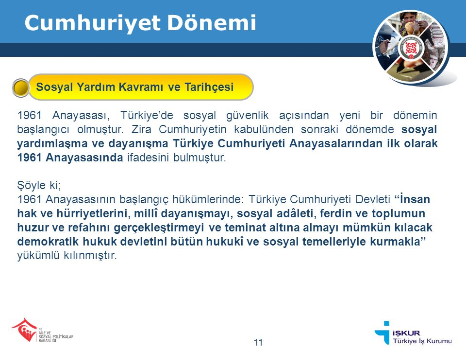 Cumhuriyet Dönemi 1982 Anayasası'nın başlangıç bölümünde ise, Her Türk vatandaşının bu Anayasadaki temel hak ve hürriyetlerden eşitlik ve sosyal adalet gereklerince yararlanarak milli kültür, medeniyet ve hukuk düzeni içinde onurlu bir hayat sürdürme ve maddi ve manevi varlığını bu yönde geliştirme hak ve yetkisine doğuştan sahip olduğu hüküm altına alınmıştır.