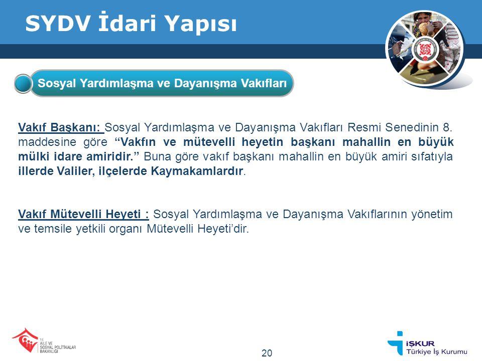 SYDV İdari Yapısı Vakıf Başkanı: Sosyal Yardımlaşma ve Dayanışma Vakıfları Resmi Senedinin 8.