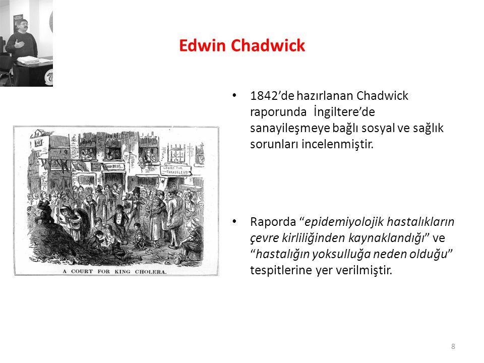 """Edwin Chadwick • 1842'de hazırlanan Chadwick raporunda İngiltere'de sanayileşmeye bağlı sosyal ve sağlık sorunları incelenmiştir. • Raporda """"epidemiyo"""