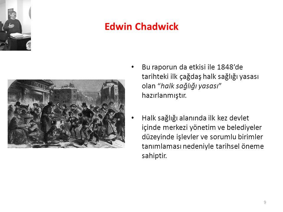 Rudolf Wirchow • 1848'de çıkan bir tifüs salgınını incelemek üzere Prusya hükümetince görevlendirilen Wirchow, raporunda salgının altında yatan sosyoekonomik ve kültürel nedenleri vurgulamış, • Sadece çevresel düzenlemeler değil tam istihdam, eğitim seferberliği gibi öneriler getirmiş, ama görevinden uzaklaştırılmıştır.