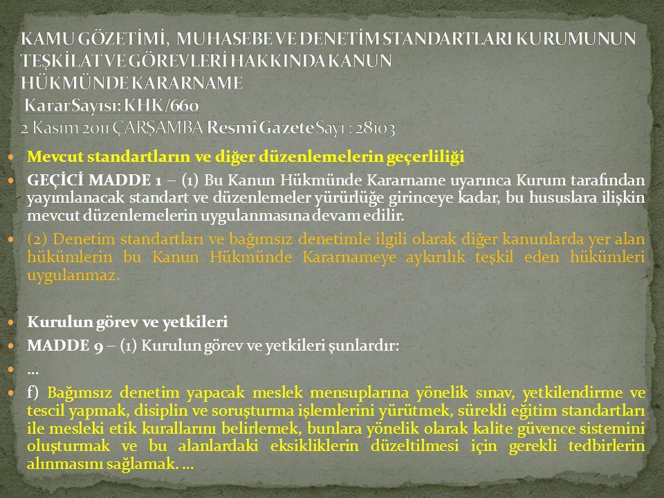  Mevcut standartların ve diğer düzenlemelerin geçerliliği  GEÇİCİ MADDE 1 ‒ (1) Bu Kanun Hükmünde Kararname uyarınca Kurum tarafından yayımlanacak s