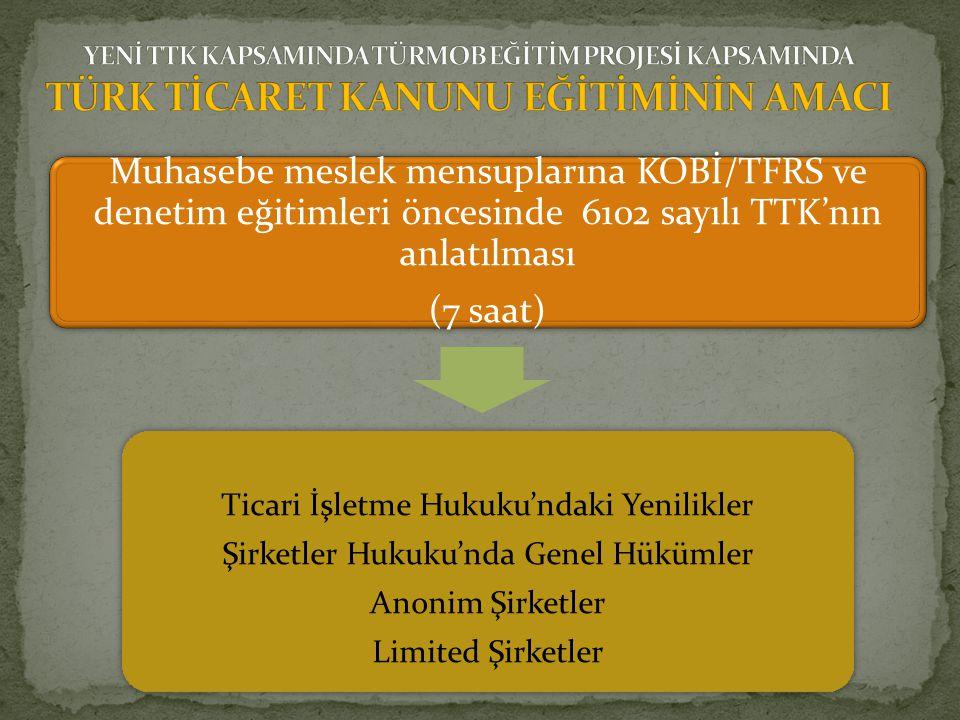 Muhasebe meslek mensuplarına KOBİ/TFRS ve denetim eğitimleri öncesinde 6102 sayılı TTK'nın anlatılması (7 saat) Ticari İşletme Hukuku'ndaki Yenilikler