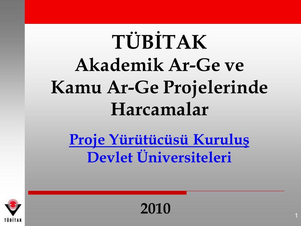 1 TÜBİTAK Akademik Ar-Ge ve Kamu Ar-Ge Projelerinde Harcamalar Proje Yürütücüsü Kuruluş Devlet Üniversiteleri 2010