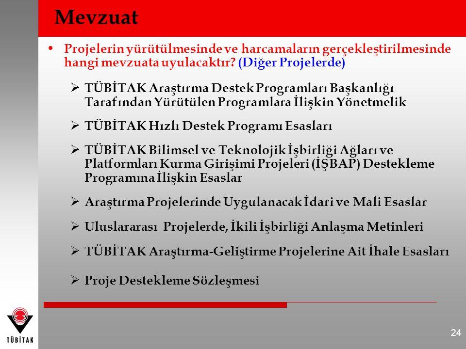 • Projelerin yürütülmesinde ve harcamaların gerçekleştirilmesinde hangi mevzuata uyulacaktır? (Diğer Projelerde)  TÜBİTAK Araştırma Destek Programlar