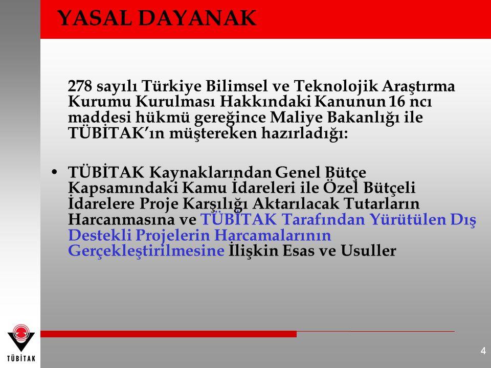 YASAL DAYANAK 278 sayılı Türkiye Bilimsel ve Teknolojik Araştırma Kurumu Kurulması Hakkındaki Kanunun 16 ncı maddesi hükmü gereğince Maliye Bakanlığı