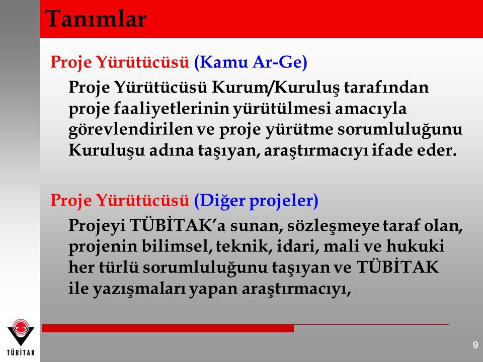 Proje Yürütücüsü (Kamu Ar-Ge) Proje Yürütücüsü Kurum/Kuruluş tarafından proje faaliyetlerinin yürütülmesi amacıyla görevlendirilen ve proje yürütme so