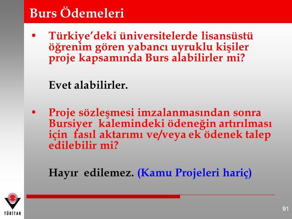 Burs Ödemeleri • Türkiye'deki üniversitelerde lisansüstü öğrenim gören yabancı uyruklu kişiler proje kapsamında Burs alabilirler mi? Evet alabilirler.